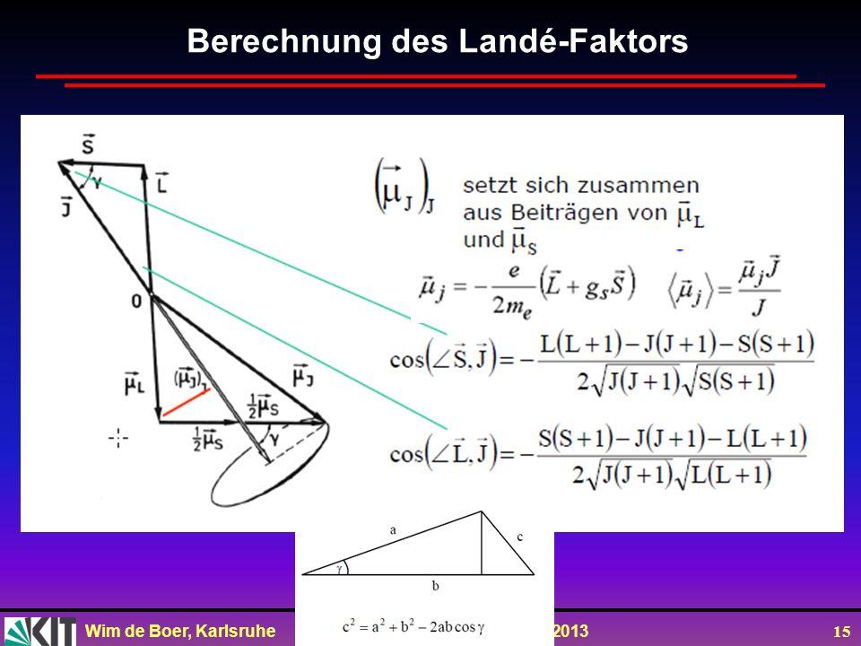 Wim de Boer, Karlsruhe Atome und Moleküle, 16.07.2013 15 Berechnung des Landé-Faktors