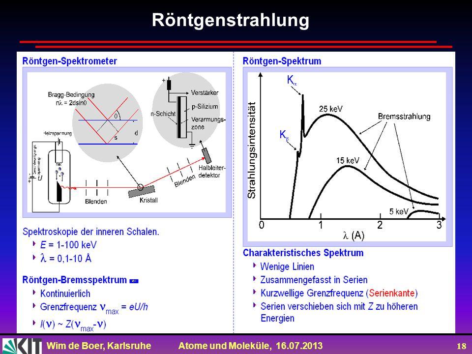 Wim de Boer, Karlsruhe Atome und Moleküle, 16.07.2013 18 Röntgenstrahlung