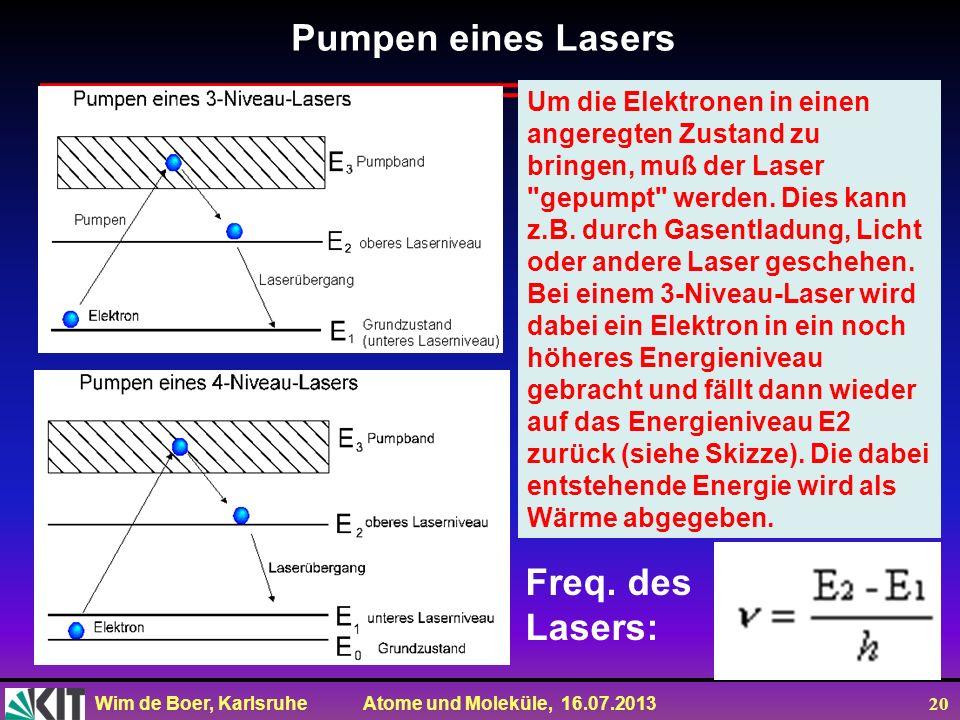 Wim de Boer, Karlsruhe Atome und Moleküle, 16.07.2013 20 Um die Elektronen in einen angeregten Zustand zu bringen, muß der Laser