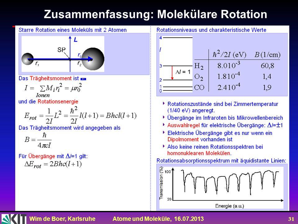 Wim de Boer, Karlsruhe Atome und Moleküle, 16.07.2013 31 Zusammenfassung: Molekülare Rotation