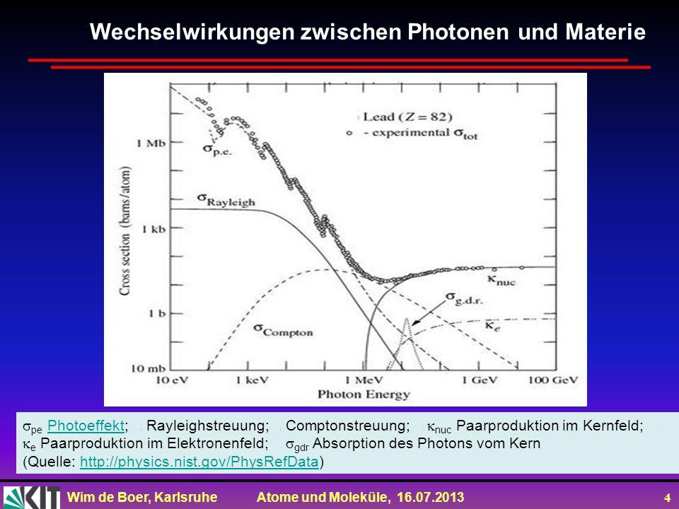 Wim de Boer, Karlsruhe Atome und Moleküle, 16.07.2013 5 De-Broglie Beziehung Photon: E=hv=hc/ und E 2 =p 2 c 2 +m 2 c 4 Daher: für m=0 gilt: E=pc=hc/ oder p=h/ (de Broglie) Um Interferenzen der Elektronen zu erklären postulierte de Broglie das diese Beziehung auch für Teilchen gilt!