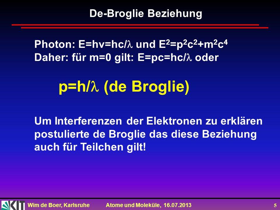 Wim de Boer, Karlsruhe Atome und Moleküle, 16.07.2013 5 De-Broglie Beziehung Photon: E=hv=hc/ und E 2 =p 2 c 2 +m 2 c 4 Daher: für m=0 gilt: E=pc=hc/
