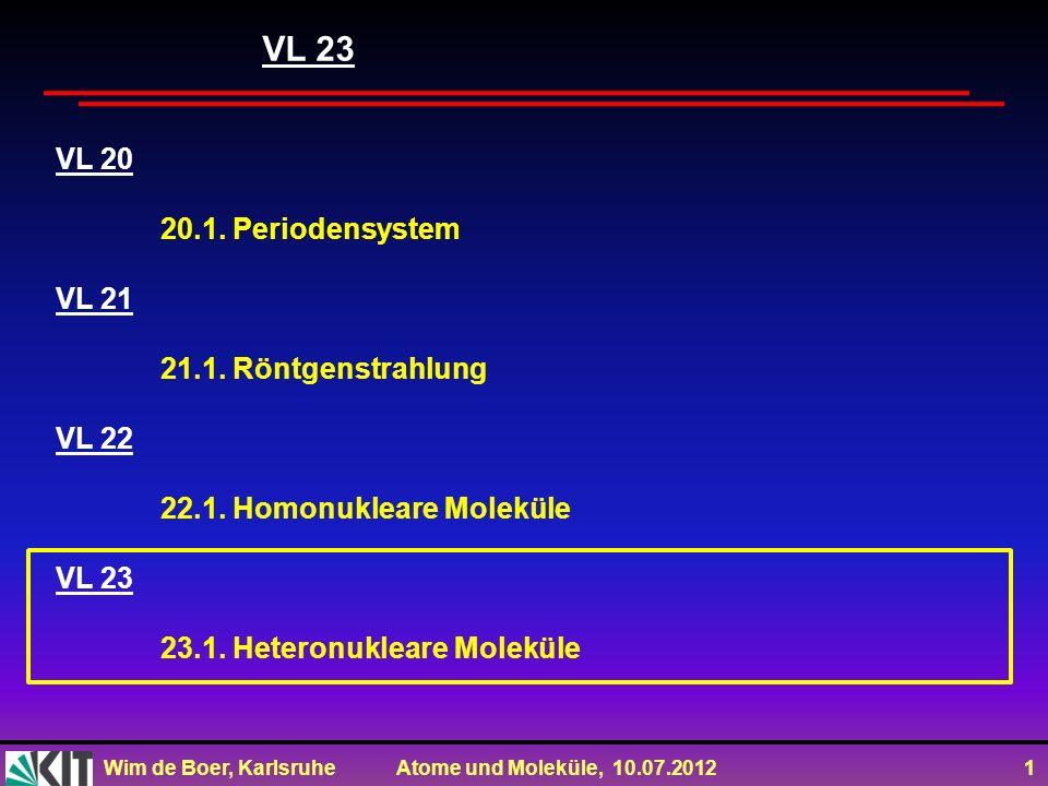 Wim de Boer, Karlsruhe Atome und Moleküle, 10.07.2012 12 sp-Hybridisierung->Verschiebung der AW Parität=(-1) l Verschieb- ung der AW !!!!!!!!!!!!!!!!!!!!!!!
