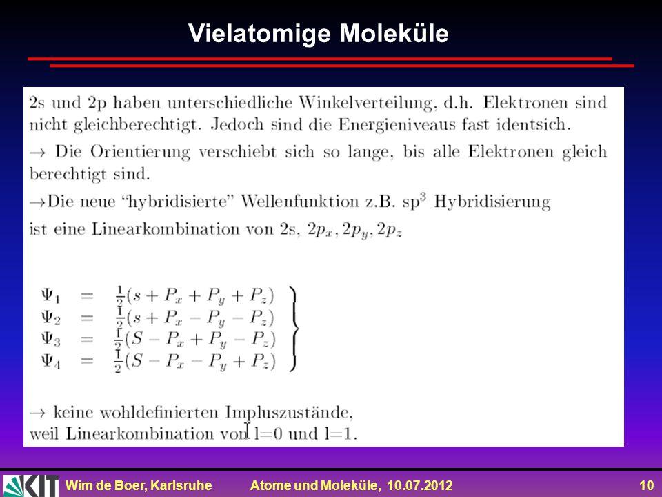 Wim de Boer, Karlsruhe Atome und Moleküle, 10.07.2012 10 Vielatomige Moleküle