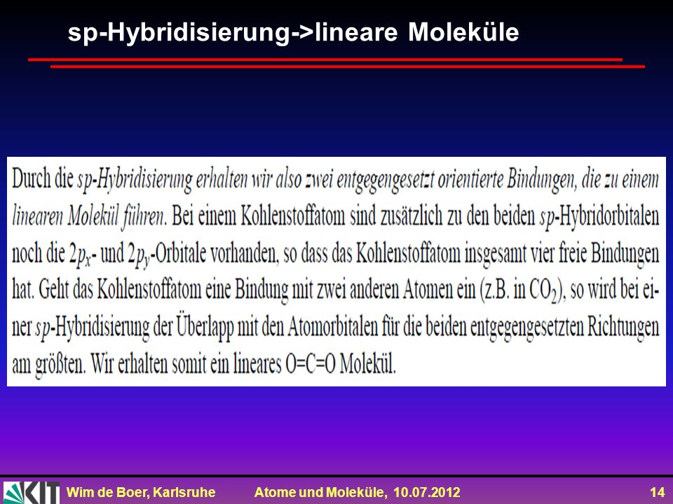 Wim de Boer, Karlsruhe Atome und Moleküle, 10.07.2012 14 sp-Hybridisierung->lineare Moleküle