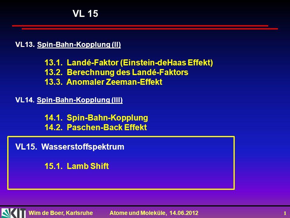 Wim de Boer, Karlsruhe Atome und Moleküle, 14.06.2012 1 VL13. Spin-Bahn-Kopplung (II) 13.1. Landé-Faktor (Einstein-deHaas Effekt) 13.2. Berechnung des