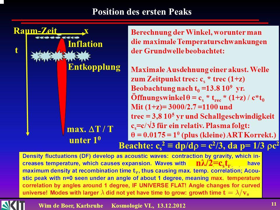 Wim de Boer, KarlsruheKosmologie VL, 13.12.2012 11 Position des ersten Peaks Berechnung der Winkel, worunter man die maximale Temperaturschwankungen d