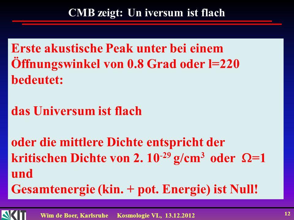 Wim de Boer, KarlsruheKosmologie VL, 13.12.2012 12 Erste akustische Peak unter bei einem Öffnungswinkel von 0.8 Grad oder l=220 bedeutet: das Universu