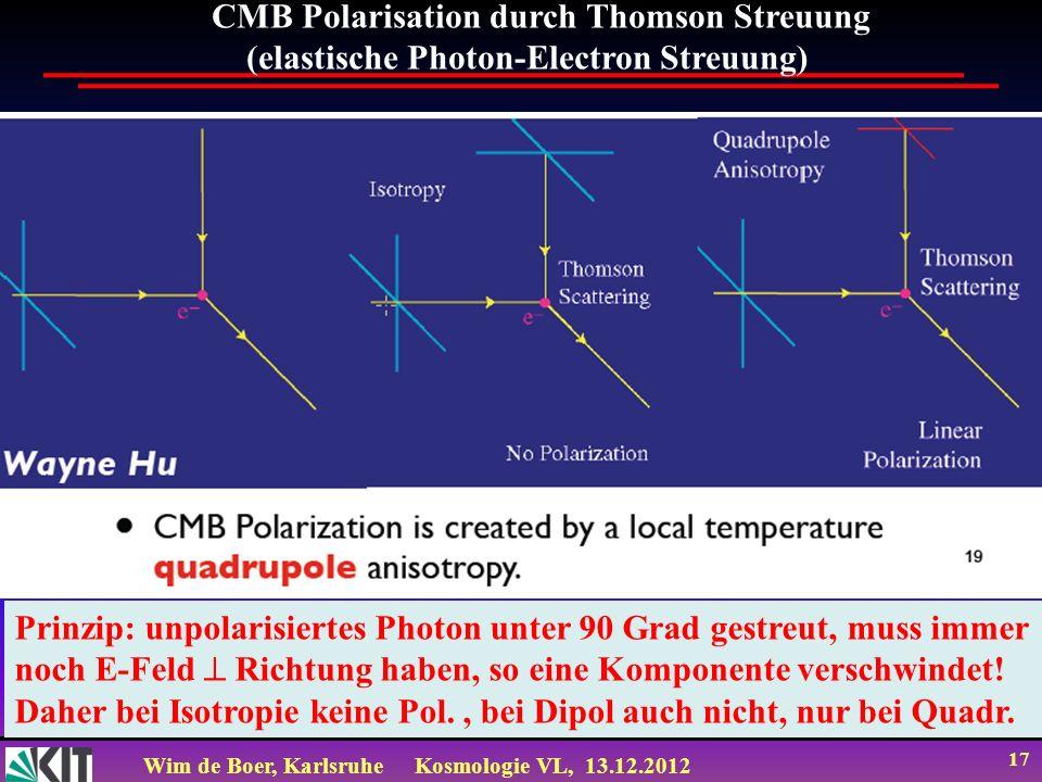 Wim de Boer, KarlsruheKosmologie VL, 13.12.2012 17 CMB Polarisation durch Thomson Streuung (elastische Photon-Electron Streuung) Prinzip: unpolarisier