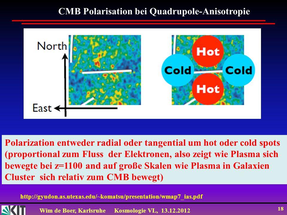Wim de Boer, KarlsruheKosmologie VL, 13.12.2012 18 Polarization entweder radial oder tangential um hot oder cold spots (proportional zum Fluss der Ele
