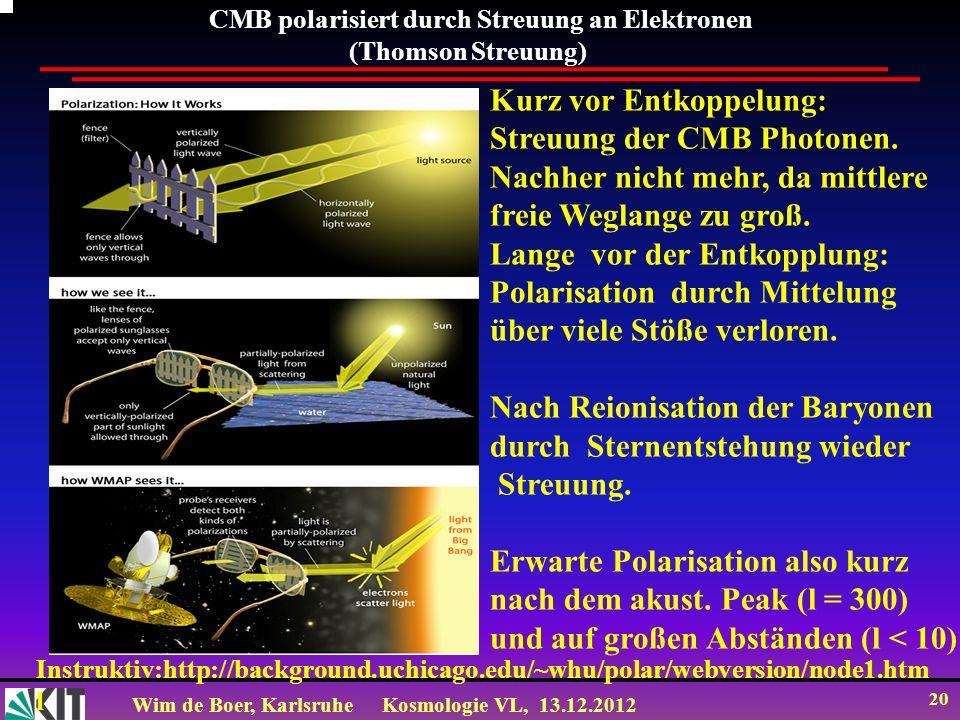 Wim de Boer, KarlsruheKosmologie VL, 13.12.2012 20 CMB polarisiert durch Streuung an Elektronen (Thomson Streuung) Kurz vor Entkoppelung: Streuung der