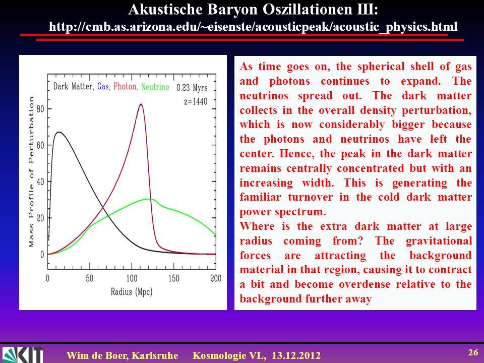 Wim de Boer, KarlsruheKosmologie VL, 13.12.2012 26 Akustische Baryon Oszillationen III: http://cmb.as.arizona.edu/~eisenste/acousticpeak/acoustic_phys