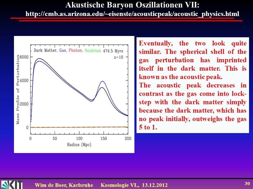 Wim de Boer, KarlsruheKosmologie VL, 13.12.2012 30 Akustische Baryon Oszillationen VII: http://cmb.as.arizona.edu/~eisenste/acousticpeak/acoustic_phys