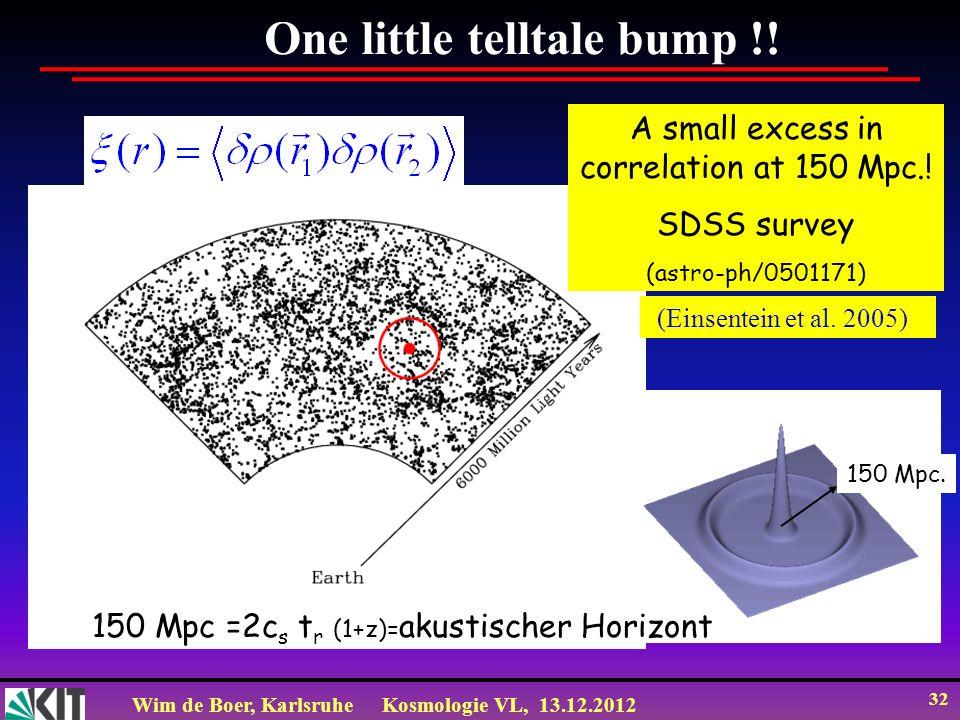 Wim de Boer, KarlsruheKosmologie VL, 13.12.2012 32 One little telltale bump !! A small excess in correlation at 150 Mpc.! SDSS survey (astro-ph/050117