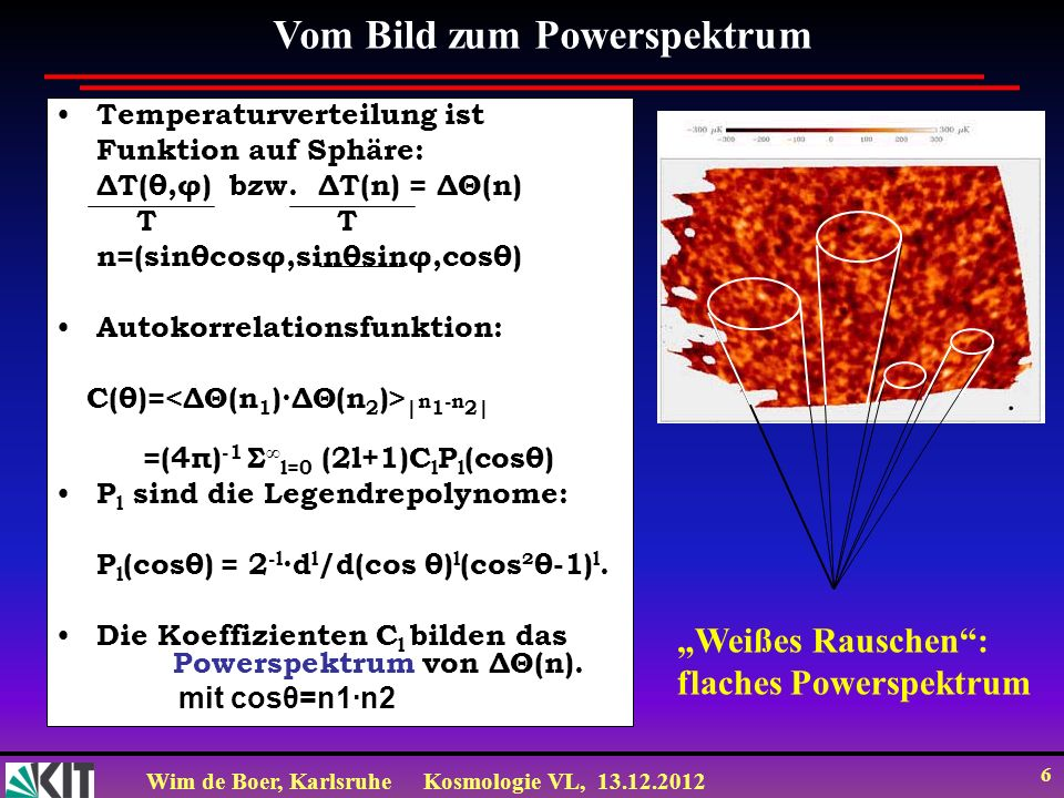Wim de Boer, KarlsruheKosmologie VL, 13.12.2012 6 Temperaturverteilung ist Funktion auf Sphäre: ΔT(θ,φ) bzw. ΔT(n) = ΔΘ(n) T T n=(sinθcosφ,sinθsinφ,co