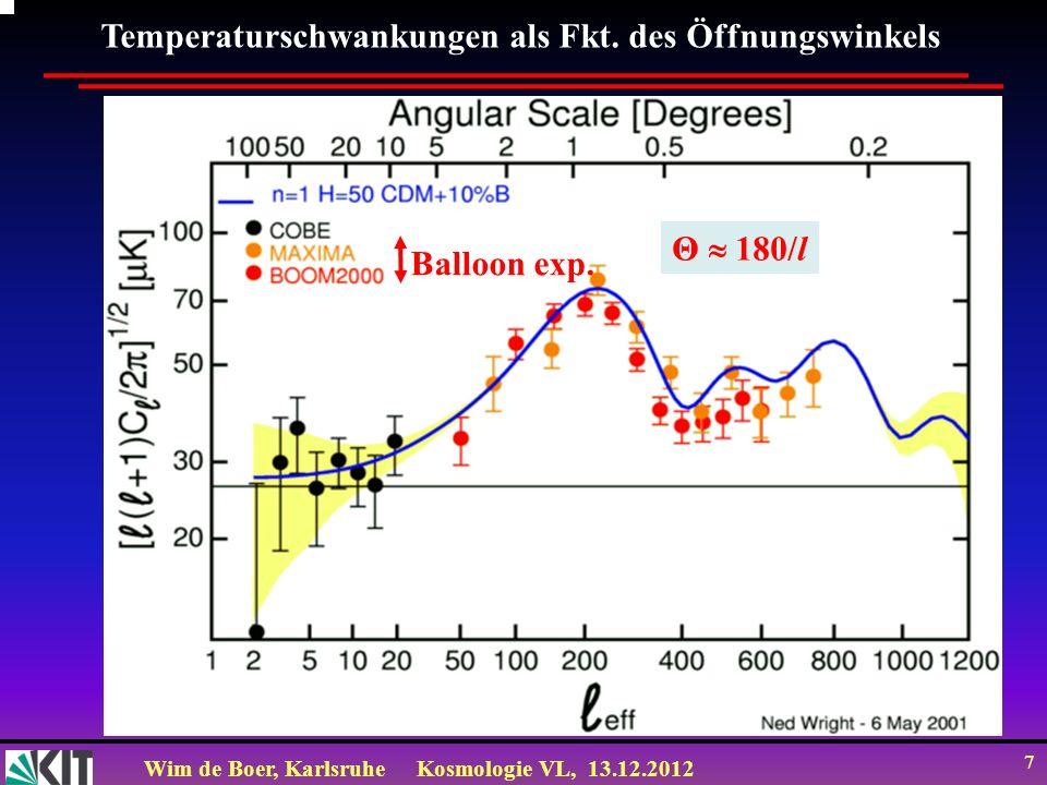 Wim de Boer, KarlsruheKosmologie VL, 13.12.2012 8 Das Leistungsspektrum (power spectrum) Ursachen für Temperatur- Schwankungen: Große Skalen: Gravitationspotentiale Kleine Skalen: Akustische Wellen l=1 nicht gezeigt, da sehr stark wegen Dipolterm durch Bewegung der Galaxie gegenüber CMB