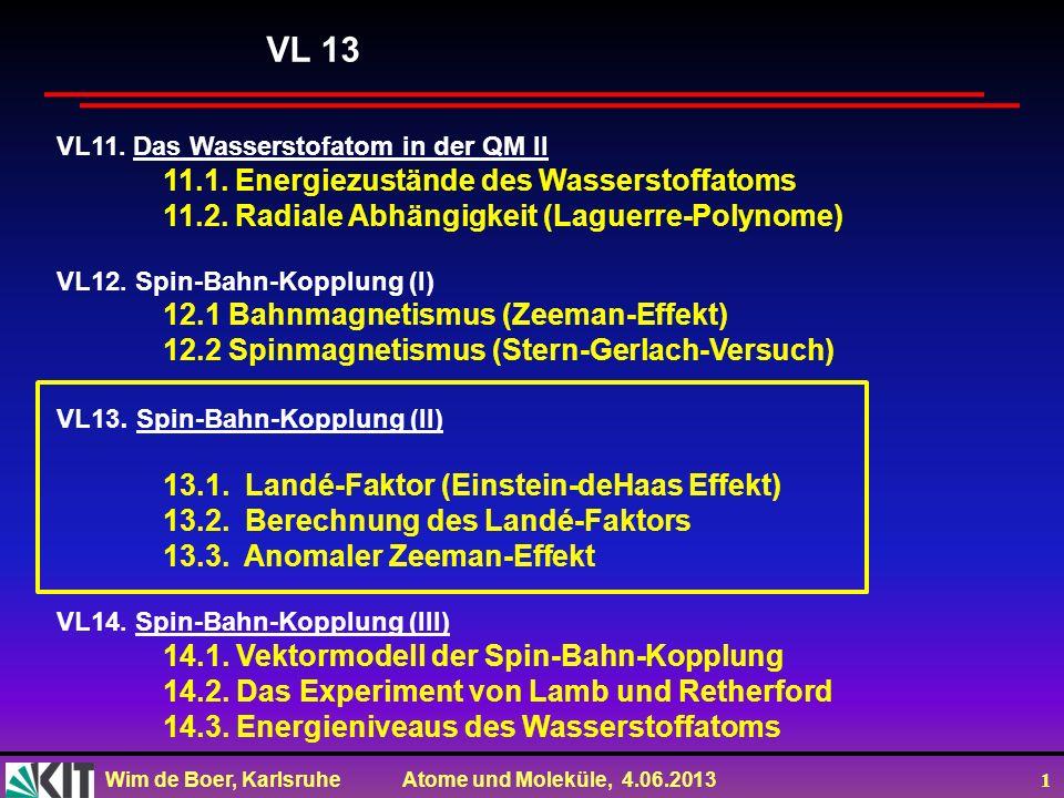 Wim de Boer, Karlsruhe Atome und Moleküle, 4.06.2013 1 VL11. Das Wasserstofatom in der QM II 11.1. Energiezustände des Wasserstoffatoms 11.2. Radiale