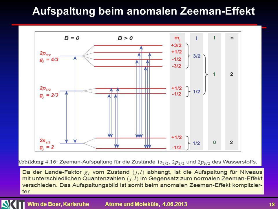 Wim de Boer, Karlsruhe Atome und Moleküle, 4.06.2013 18 Aufspaltung beim anomalen Zeeman-Effekt
