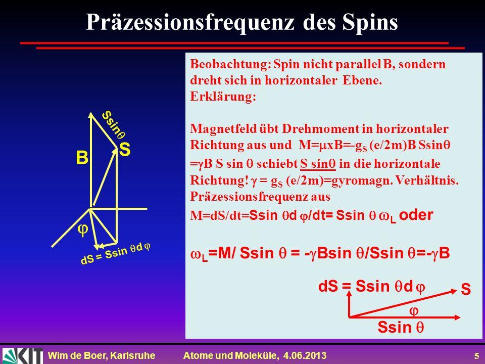 Wim de Boer, Karlsruhe Atome und Moleküle, 4.06.2013 5 Präzessionsfrequenz des Spins Beobachtung: Spin nicht parallel B, sondern dreht sich in horizon