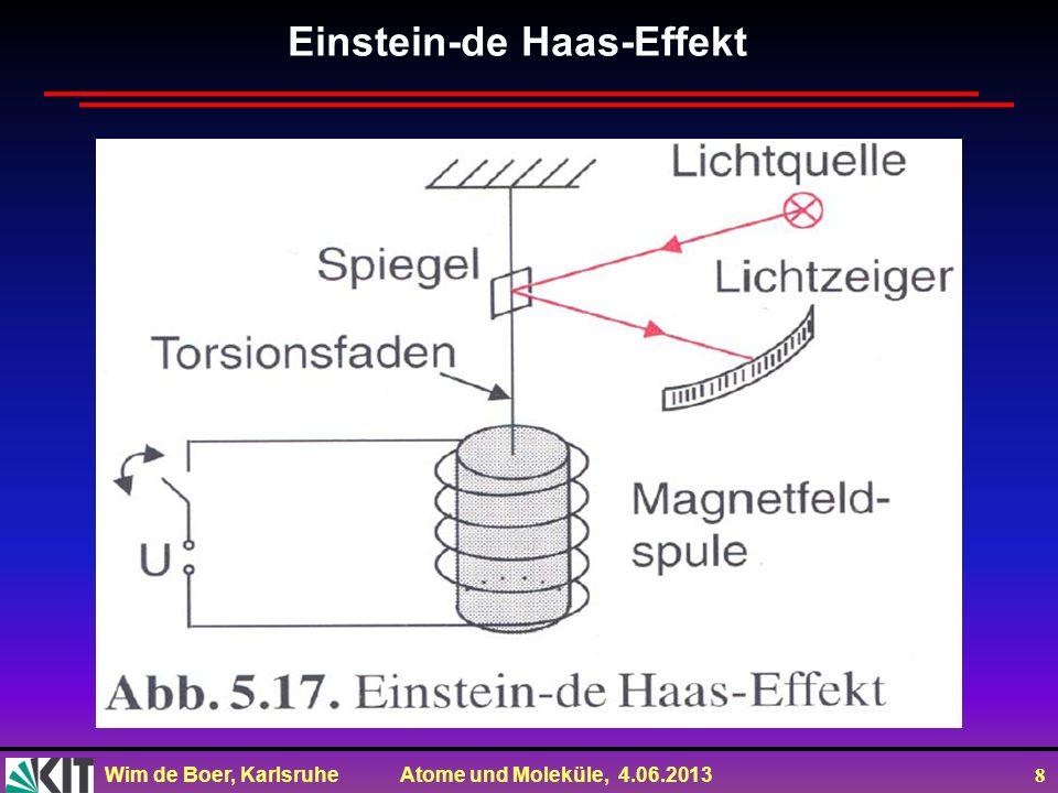 Wim de Boer, Karlsruhe Atome und Moleküle, 4.06.2013 8 Einstein-de Haas-Effekt