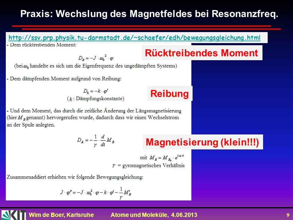 Wim de Boer, Karlsruhe Atome und Moleküle, 4.06.2013 9 Praxis: Wechslung des Magnetfeldes bei Resonanzfreq. Rücktreibendes Moment Reibung http://ssv.p
