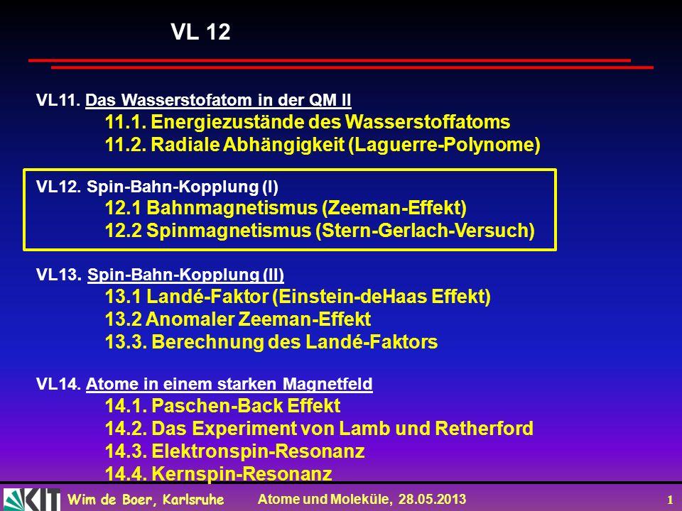 Wim de Boer, Karlsruhe Atome und Moleküle, 28.05.2013 2 Vorlesung 12 Roter Faden: Bahnmagnetismus (Zeeman-Effekt) (Zeeman + Lorentz: Nobelpreis 1902) Spinmagnetismus (Stern-Gerlach-Exp.) (Stern: Nobelpreis 1943) Folien auf dem Web: http://www-ekp.physik.uni-karlsruhe.de/~deboer/ Siehe auch: Demtröder, Experimentalphysik 3, Springerverlag Und http://www.ipf.uni-stuttgart.de/lehre/online-skript/f30_11.html