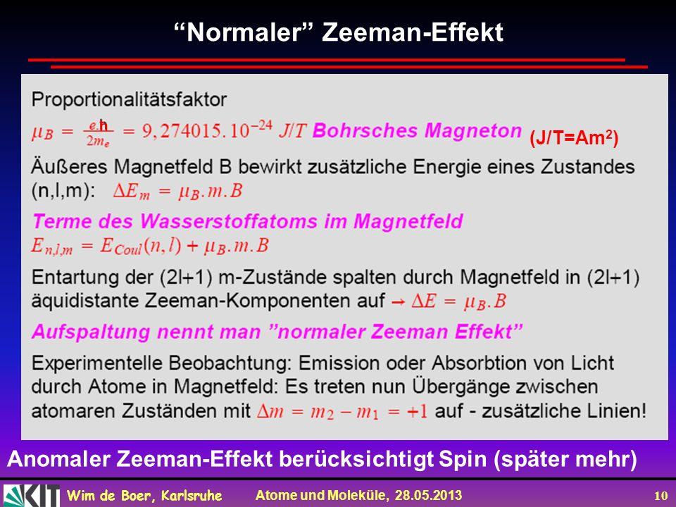 Wim de Boer, Karlsruhe Atome und Moleküle, 28.05.2013 10 Normaler Zeeman-Effekt ħ (J/T=Am 2 ) Anomaler Zeeman-Effekt berücksichtigt Spin (später mehr)