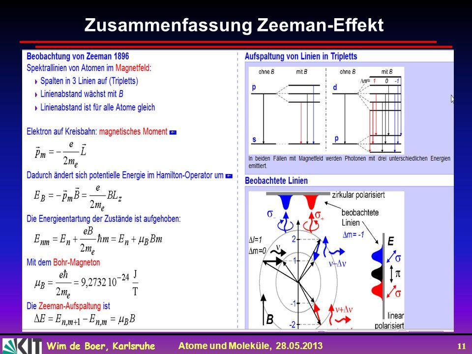 Wim de Boer, Karlsruhe Atome und Moleküle, 28.05.2013 11 Zusammenfassung Zeeman-Effekt