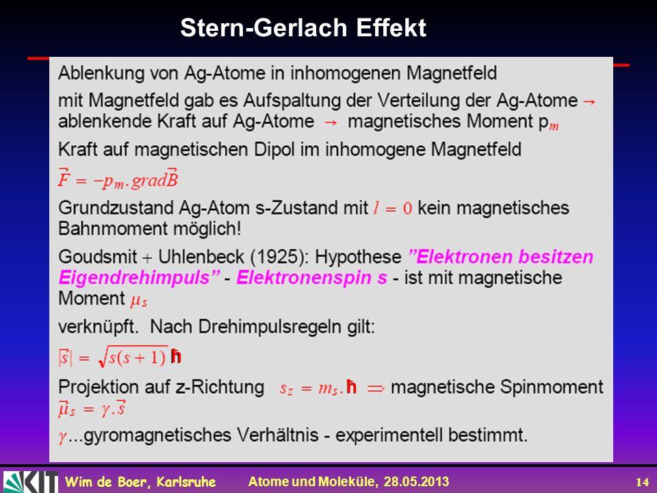 Wim de Boer, Karlsruhe Atome und Moleküle, 28.05.2013 14 Stern-Gerlach Effekt ħ ħ