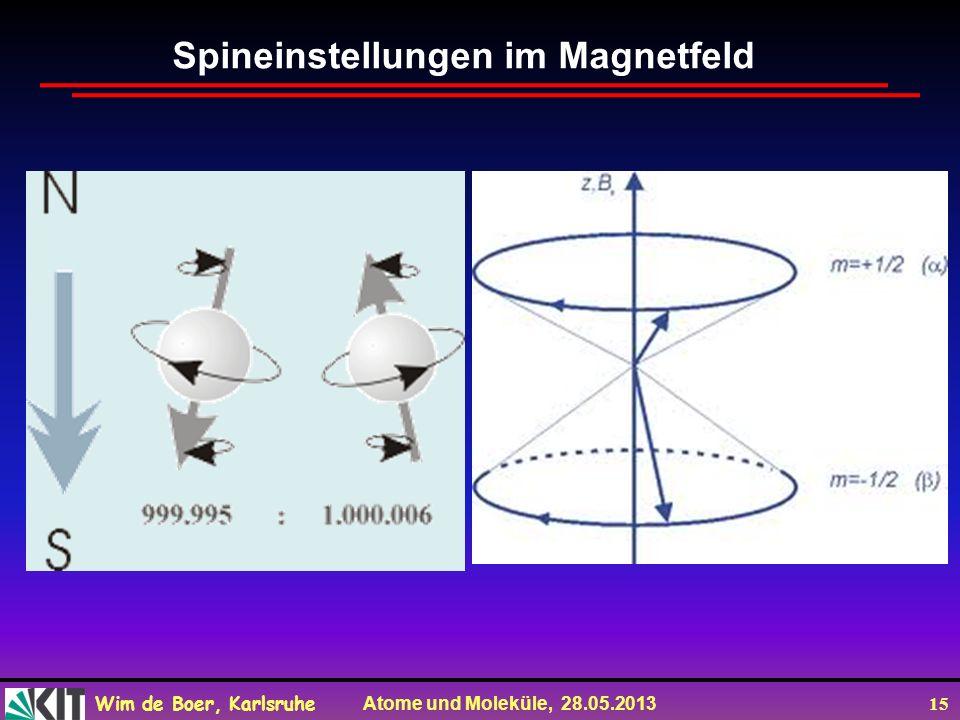 Wim de Boer, Karlsruhe Atome und Moleküle, 28.05.2013 15 Spineinstellungen im Magnetfeld