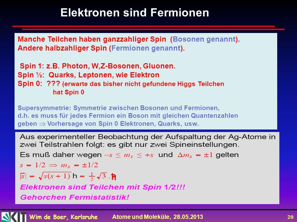 Wim de Boer, Karlsruhe Atome und Moleküle, 28.05.2013 20 ħ Elektronen sind Fermionen Manche Teilchen haben ganzzahliger Spin (Bosonen genannt). Andere