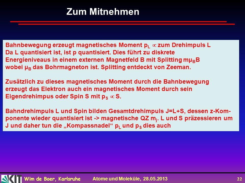 Wim de Boer, Karlsruhe Atome und Moleküle, 28.05.2013 22 Zum Mitnehmen Bahnbewegung erzeugt magnetisches Moment p L zum Drehimpuls L Da L quantisiert