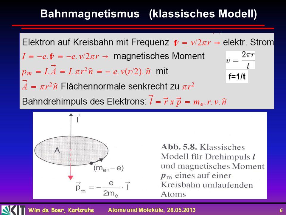 Wim de Boer, Karlsruhe Atome und Moleküle, 28.05.2013 7 Normaler Zeeman-Effekt Klassisch: drehendes Elektron-> magnetisches Moment p L QM: Quantisierung von L -> Quantisierung von p -> Kompassnadel hat nur bestimmte Einstellungen und Energien!