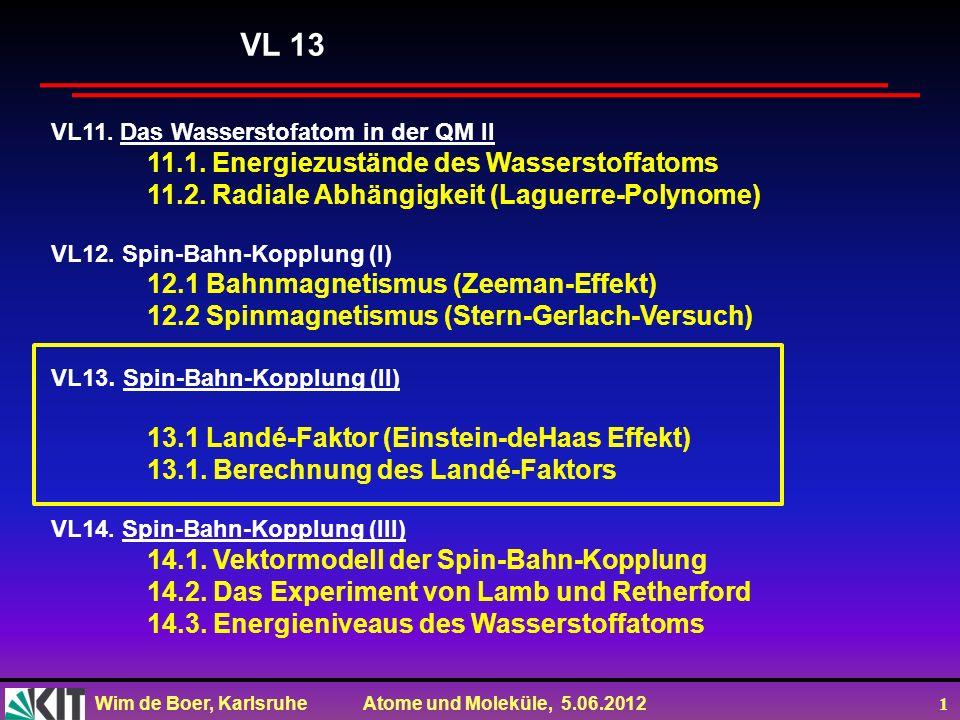 Wim de Boer, Karlsruhe Atome und Moleküle, 5.06.2012 2 Vorlesung 13: Roter Faden: Landé-Faktor (Einstein-deHaas Effekt) Berechnung des Landé-Faktors Folien auf dem Web: http://www-ekp.physik.uni-karlsruhe.de/~deboer/ Siehe auch: Demtröder, Experimentalphysik 3, Springerverlag Und http://www.ipf.uni-stuttgart.de/lehre/online-skript/f30_11.html