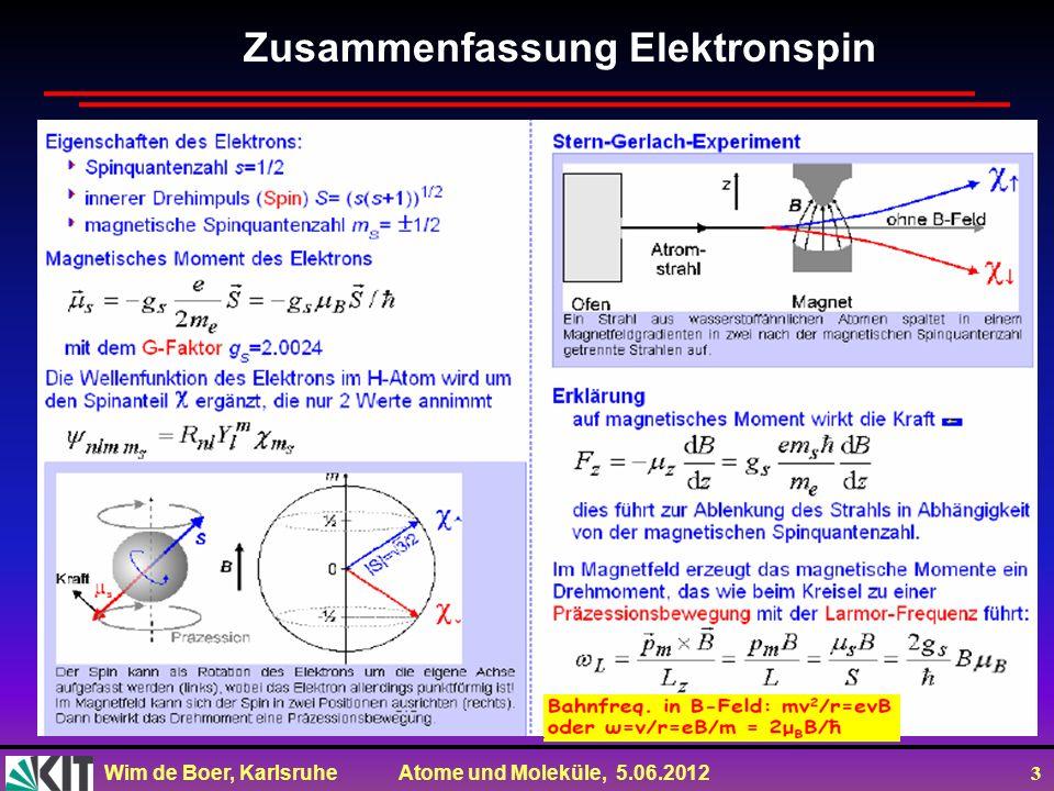 Wim de Boer, Karlsruhe Atome und Moleküle, 5.06.2012 4 Räumliche Einstellung eines Drehimpulses Eigenfunktionen des Drehimpulsoperators sind die Kugelflächenfunktionen.Für jedes Paar Quantenzahlen l,m gibt es eine eigene Funktion Y l,m (,φ) (später mehr)