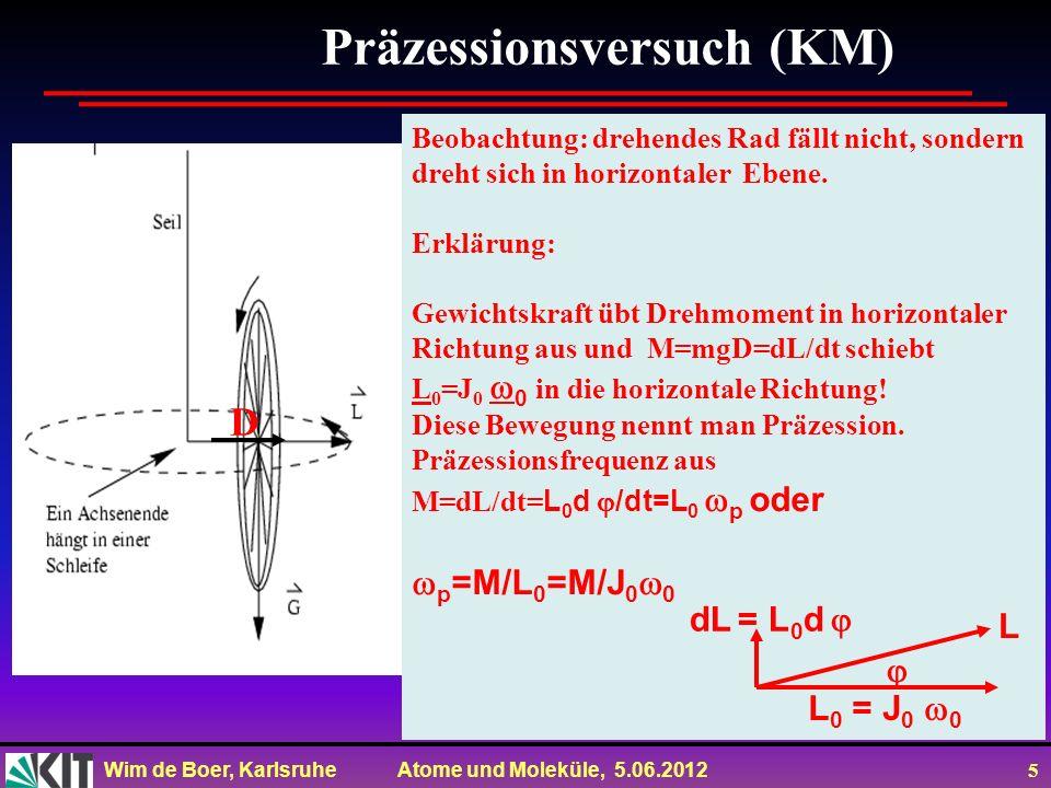 Wim de Boer, Karlsruhe Atome und Moleküle, 5.06.2012 6 Präzessionsversuch (Spin) Beobachtung: Spin nicht parallel B, sondern dreht sich in horizontaler Ebene.