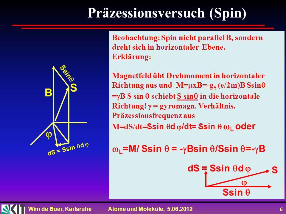 Wim de Boer, Karlsruhe Atome und Moleküle, 5.06.2012 7 Einstein-de Haas-Effekt ħ