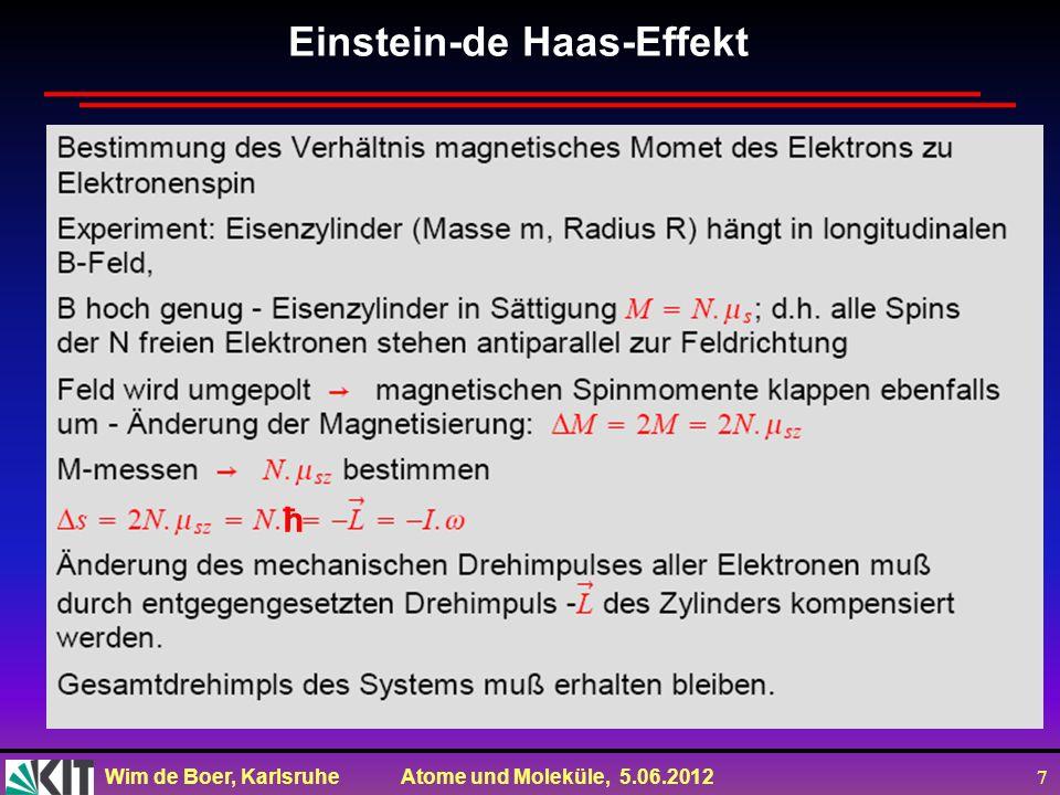 Wim de Boer, Karlsruhe Atome und Moleküle, 5.06.2012 8 Einstein-de Haas-Effekt ħ ħ ħ ħ