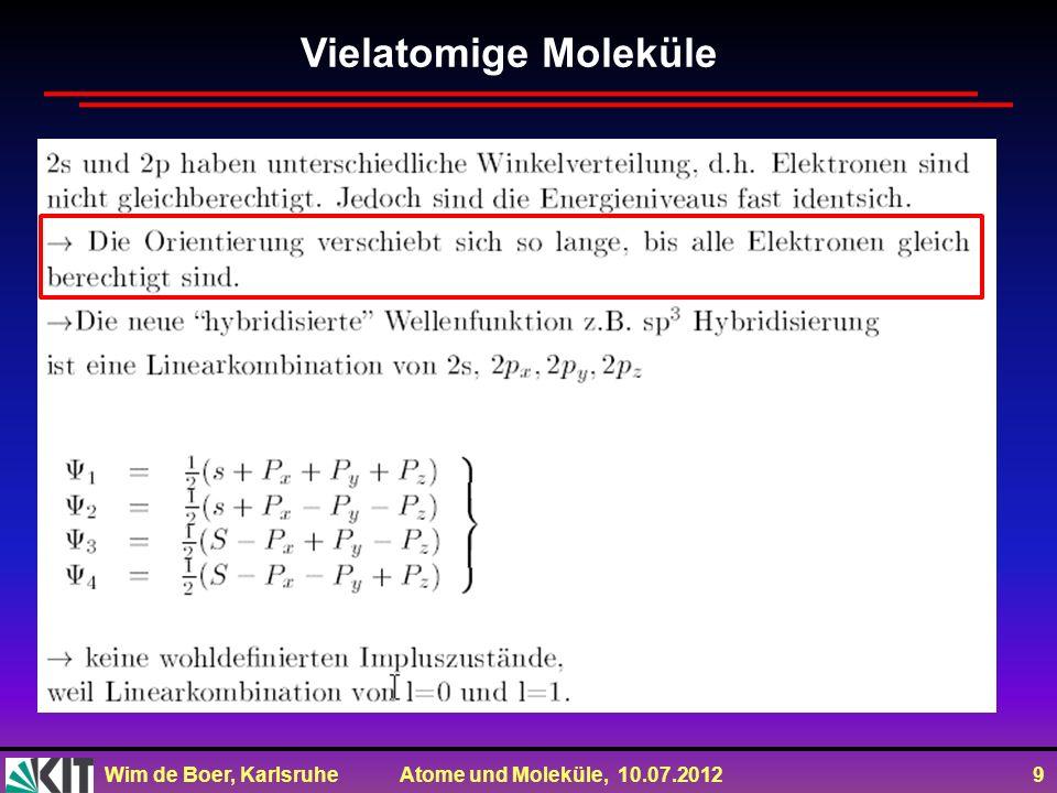 Wim de Boer, Karlsruhe Atome und Moleküle, 10.07.2012 9 Vielatomige Moleküle