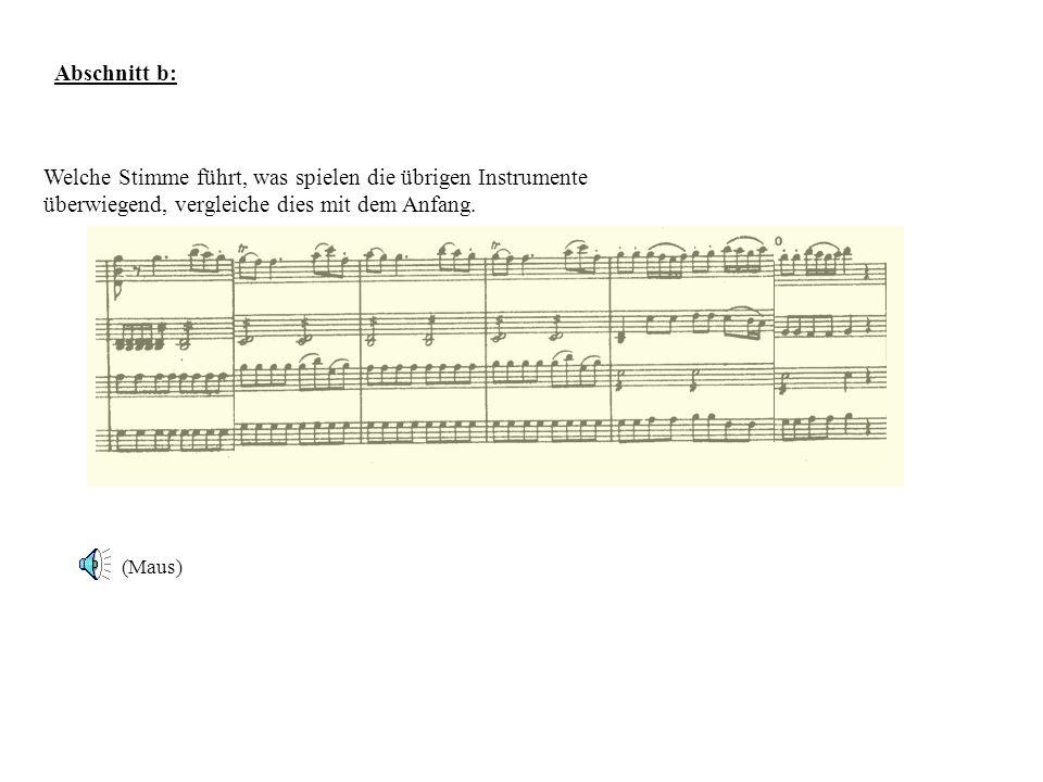 Abschnitt b: Welche Stimme führt, was spielen die übrigen Instrumente überwiegend, vergleiche dies mit dem Anfang. (Maus)