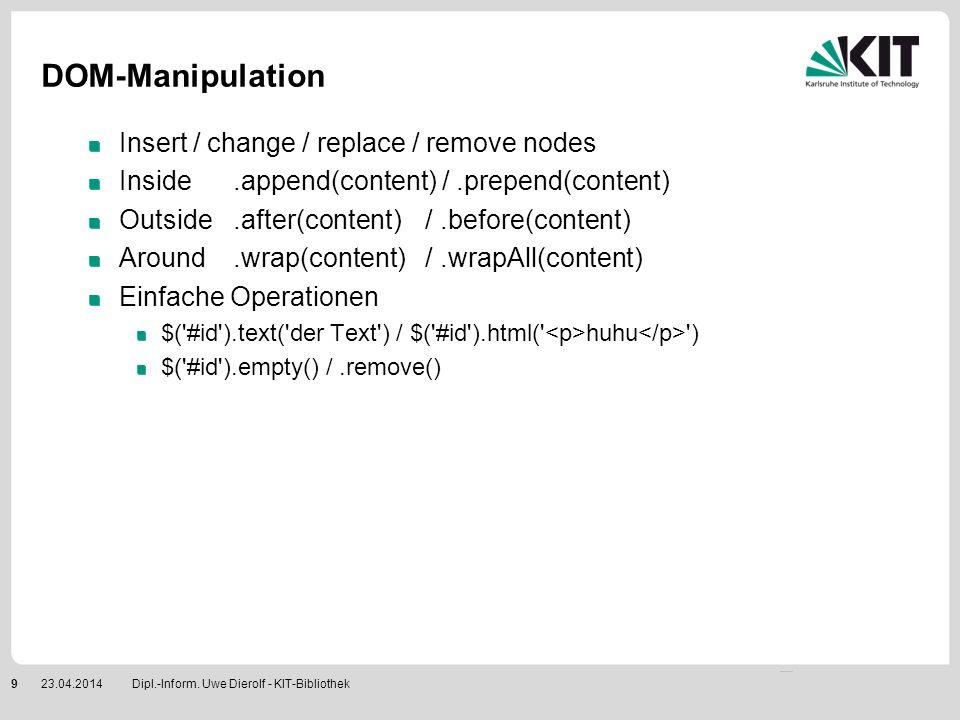 AJAX Laden von externen Inhalten VORSICHT: Sicherheitsmodell schränkt ein Extern heißt auf dem eigenen Server ! Man sieht nicht unbedingt sofort, dass AJAX im Spiel ist $( #id ).load( externalData.html ) Praktisch: load() erlaubt auch die Angabe von Selektoren load(file #id) $.get( http://... , [ data ], [callback], [ type ] ) ; Analog POST-Requests $.getScript( meinJavascript.js , [callback] ) ; Callback wird nur bei Erfolg aufgerufen .