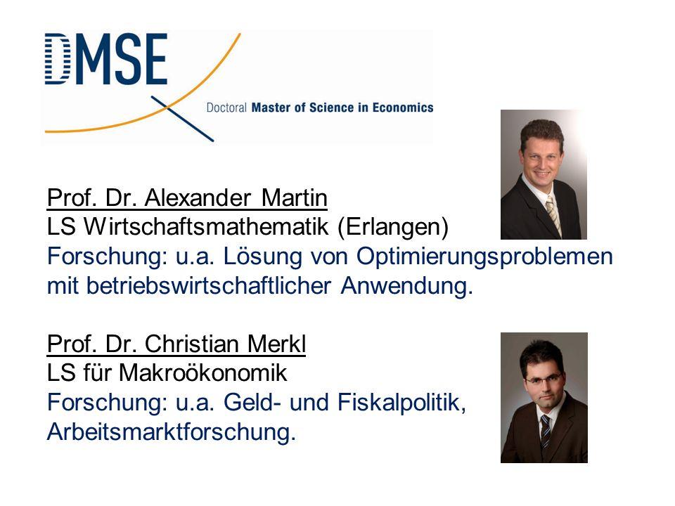 Prof. Dr. Alexander Martin LS Wirtschaftsmathematik (Erlangen) Forschung: u.a. Lösung von Optimierungsproblemen mit betriebswirtschaftlicher Anwendung