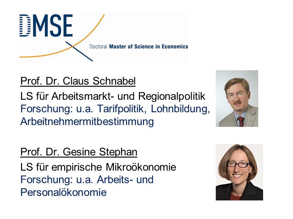 Prof. Dr. Claus Schnabel LS für Arbeitsmarkt- und Regionalpolitik Forschung: u.a. Tarifpolitik, Lohnbildung, Arbeitnehmermitbestimmung Prof. Dr. Gesin