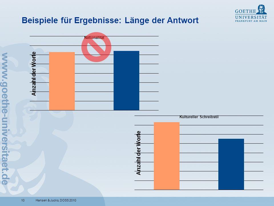10 Beispiele für Ergebnisse: Länge der Antwort Hansen & Jucks, DOSS 2010
