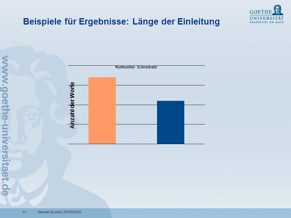 11 Beispiele für Ergebnisse: Länge der Einleitung Hansen & Jucks, DOSS 2010