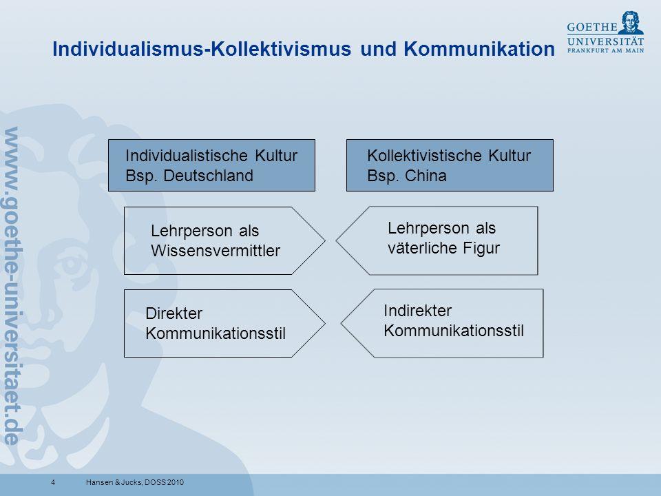 4 Individualismus-Kollektivismus und Kommunikation Hansen & Jucks, DOSS 2010 Individualistische Kultur Bsp. Deutschland Kollektivistische Kultur Bsp.