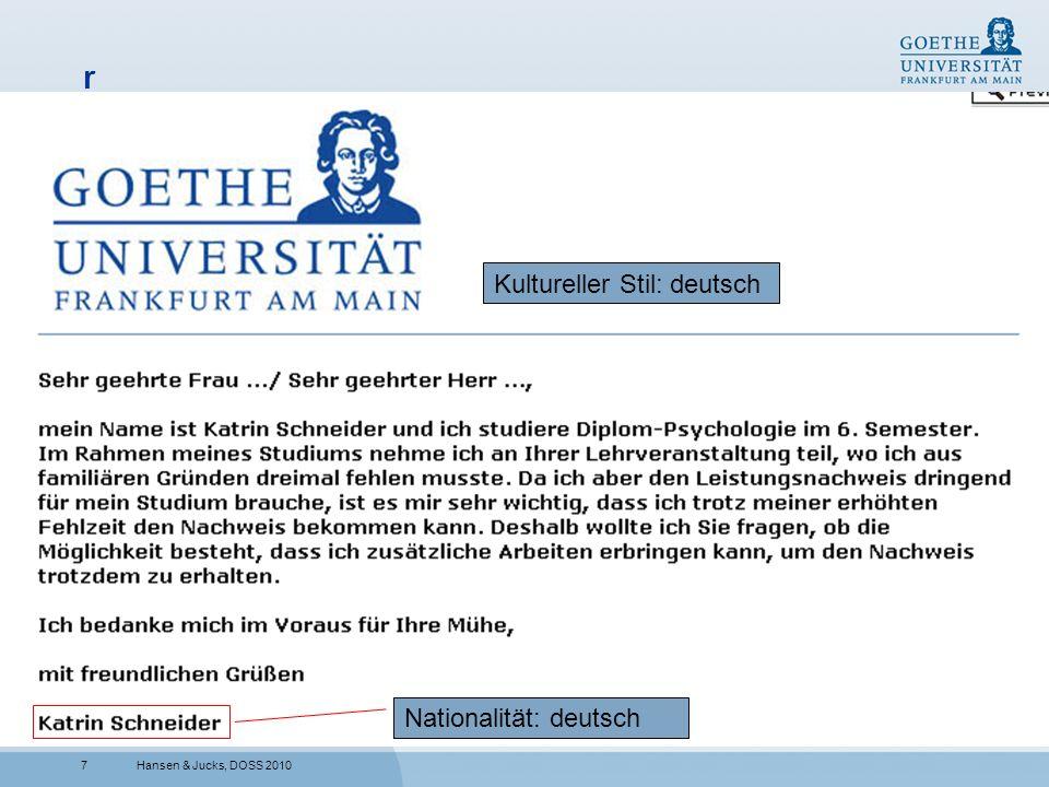 7 r Hansen & Jucks, DOSS 2010 Nationalität: deutsch Kultureller Stil: deutsch