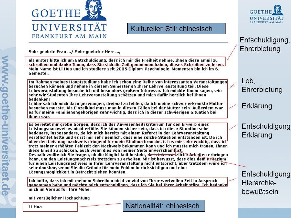 8 Re Hansen & Jucks, DOSS 2010 Kultureller Stil: chinesisch Nationalität: chinesisch Entschuldigung, Ehrerbietung Lob, Ehrerbietung Entschuldigung, Erklärung Entschuldigung, Hierarchie- bewußtsein Erklärung