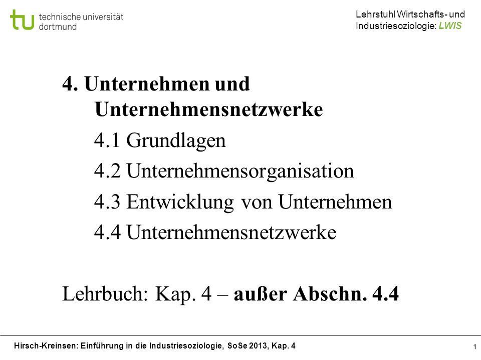 Hirsch-Kreinsen: Einführung in die Industriesoziologie, SoSe 2013, Kap. 4 Lehrstuhl Wirtschafts- und Industriesoziologie: LWIS 1 4. Unternehmen und Un