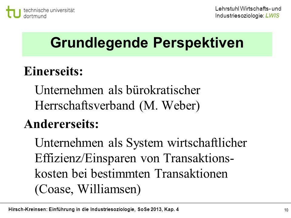 Hirsch-Kreinsen: Einführung in die Industriesoziologie, SoSe 2013, Kap. 4 Lehrstuhl Wirtschafts- und Industriesoziologie: LWIS 10 Grundlegende Perspek